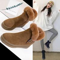 2018冬季新款加绒雪地靴真皮内增高短靴子女棉鞋ins马丁靴女短筒SN5391