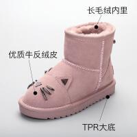 儿童雪地靴女真皮靴子2018新款冬季加毛防滑可爱宝宝公主鞋子韩版