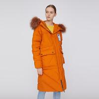 【1件3折价:439.5元】初语外套女冬装新款毛领连帽印花时尚韩版宽松显瘦派克羽绒服