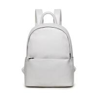 韩版夏季新款皮质双肩包女防水电脑包背包大学生书包旅行包大容量SN8818 米白色 可装13寸电脑A4本