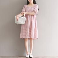 孕妇装夏季新款韩版中长款大码宽松森女系棉麻格子短袖系带连衣裙4903
