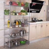 厨房置物架多层水果蔬菜落地收纳架4层不锈钢色储物架菜架子实用