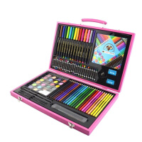 儿童绘画套装木盒文具礼盒画画玩具画笔蜡笔水彩笔小学生礼物用品 158件木盒绘画套装 粉色 送2填色本3贴画