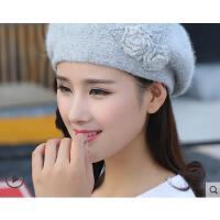 新品时尚兔毛针织毛线帽女韩版百搭保暖手工贝雷帽