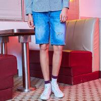 【年前最后狂欢,1件3折到手价:53.7】美特斯邦威旗下 4M牛仔短裤男2018夏季新款男纯棉织带细节时尚小破洞牛仔中