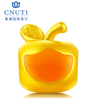 CNUTI粤通国际珠宝 黄金转运珠 3D硬金足金手链串珠转运珠 黄金小苹果 心想事成 约1.1g