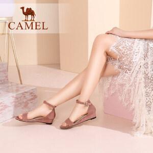 骆驼女鞋 2018夏季新款 一字扣带坡跟凉鞋简约舒适韩版中跟鞋凉鞋