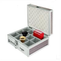 金隆兴B069铝合金印章盒子私章盒财务印章箱收纳盒12格内格自由调