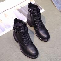 2018新款网红高跟鞋女士靴系带马丁靴短筒靴粗跟短靴秋冬单靴抖音 黑色 单里