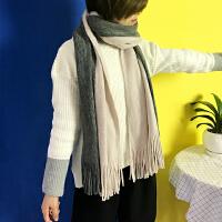韩国秋冬季仿羊绒围巾男女学生韩版加厚保暖拼色针织围脖披肩两用