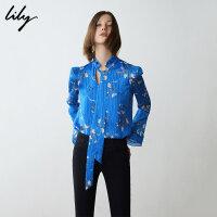 【不打烊价:203元】 Lily春新款女装复古皱褶印花飘带领套头雪纺衫119130C8247