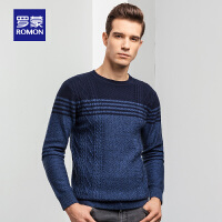 罗蒙羊毛衫男中青年时尚休闲条纹撞色毛衣秋季新款圆领修身针织衫