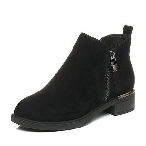Tata/他她2017冬黑色时尚通勤及踝靴方跟女短靴20613DD7