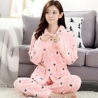 加厚睡衣秋冬法兰绒套装珊瑚绒睡衣家居服保暖长袖韩版可爱