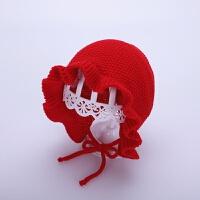 女宝宝帽子秋冬季4-20个月女童公主花边帽宫廷护耳系带婴儿毛线帽 红色 宫廷花边毛线帽 均码