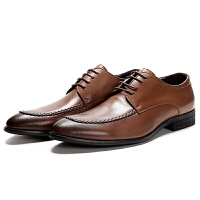 男士英伦经典手工编织条简约商务正装皮鞋百搭大气真皮男鞋子软底
