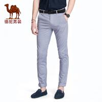 骆驼男装 男士休闲裤夏季薄款直筒弹力长裤青年纯色中腰裤子 潮
