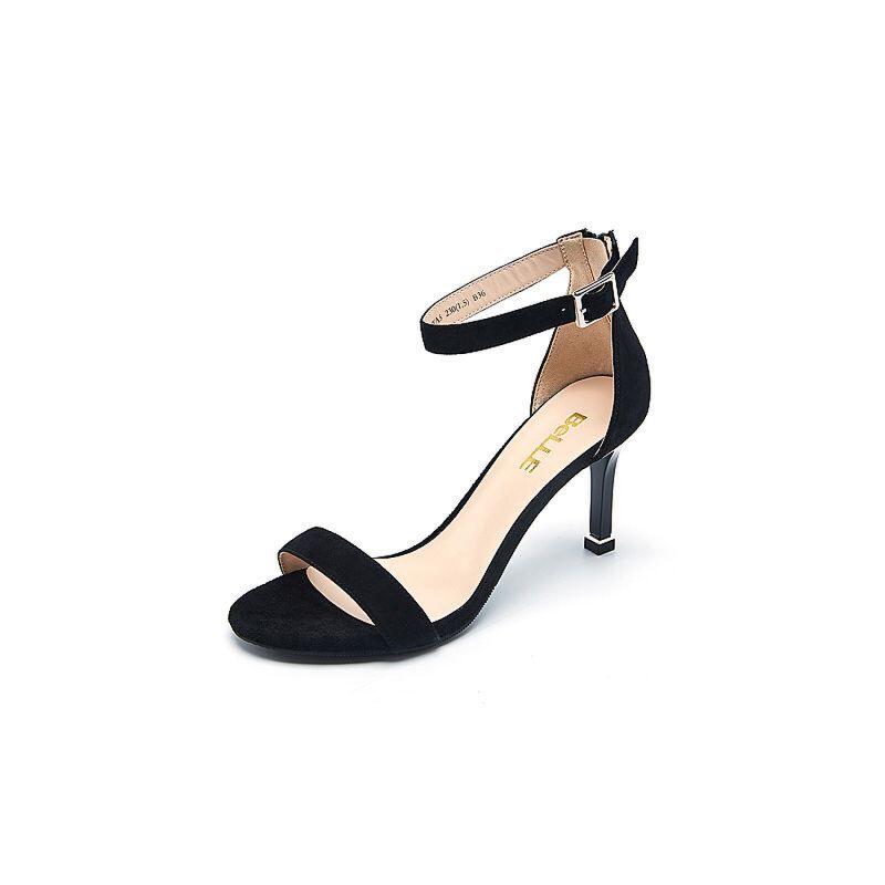 Belle/百丽夏专柜同款羊绒皮革女皮凉鞋BLWA5BL7