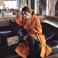大衣女中长款韩国双面呢子过膝欧美气质秋冬新款毛呢外套 桔色