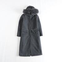 秋冬新款女中长款毛呢外套 连帽真毛条韩版显瘦暗扣气质羊毛大衣