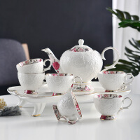 欧式陶瓷咖啡杯碟套装带壶配托盘英式家用陶瓷下午茶茶具套装 8件