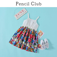 【2件3折价:49.8元】铅笔俱乐部童装2021夏装新款女童吊带裙大童印花连衣裙儿童裙子