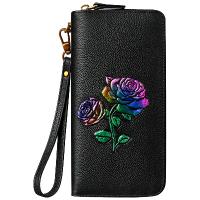 女士钱包女长款2018新款韩版头层牛皮个性彩绘真皮夹子拉链手拿包