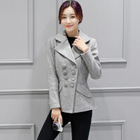 秋装毛呢外套女短款女装20韩版修身双排扣呢子大衣显瘦春秋外套