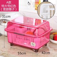 碗柜塑料碗筷收纳盒带盖放碗箱特大号厨房沥水筷子餐具碗架置物架