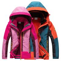 冲锋衣男女三合一两件套拼色抓绒防水透气登山服