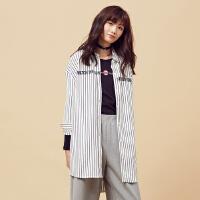 【2件2.5折到手价:59.75】美特斯邦威衬衫女冬装新款韩版条纹长袖衬衫4708
