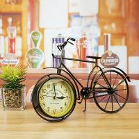 美式复古家居装饰品摆件客厅电视柜书房摆设工艺品自行车座钟时钟 古铜色纽约款