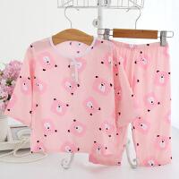 春秋棉绸儿童家居服套装夏男童女童宝宝绵绸薄款睡衣3-5 7-9周岁 粉红色 方脸熊