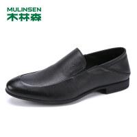 木林森男士休闲鞋真皮商务休闲鞋套脚男鞋皮鞋SS97123