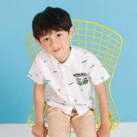 【1件2.5折到手价:29.8】moomoo童装男童衬衫夏装男中童潮流翻领短袖上衣