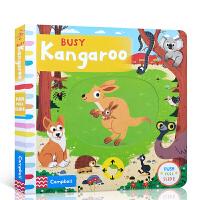 【全店300减100】英文原版 Busy Kangaroo 忙碌的袋鼠Busy系列 儿童英语早教启蒙认知绘本图画书 纸板