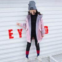 女童洋气加绒外套秋冬装2018新款6韩版7小女孩10风衣8上衣12岁9潮 粉
