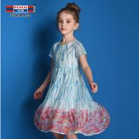 【品牌秒杀价:69】铅笔俱乐部童装2020夏装新款女童短袖连衣裙中大童雪纺裙儿童裙子