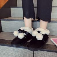 兔毛球球防滑雪地靴女冬2018新款厚底毛毛鞋加绒加厚短筒棉鞋学生