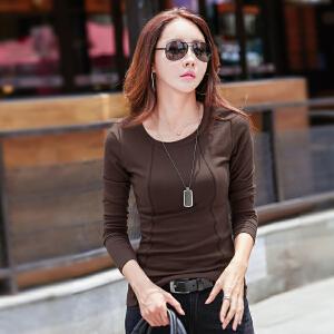韩版新款哈苏线长袖打底衫女士圆领T恤