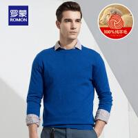 Romon/罗蒙羊毛衫中青年100%羊毛圆领毛衣休闲打底薄款男士