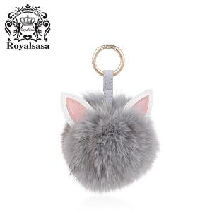 皇家莎莎毛球钥匙扣送女友车用狐狸毛挂饰女士手工钥匙链时尚包挂件