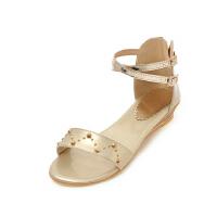 ELEISE美国艾蕾莎新品162-a87-1韩版超纤皮坡跟铆钉女士凉鞋