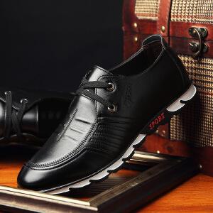 2018新款休闲皮鞋男士男系带皮鞋春季潮鞋青年潮流商务英伦百搭韩版鞋子B55HDMY