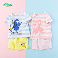 迪士尼Disney童装 儿童条纹肩开套头套装夏季新品男女宝宝纯棉t恤裤子192T893