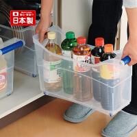 inomata日本进口厨房调料收纳盒 塑料带滑轮的置物架下水槽置物架