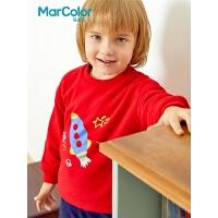 巴拉巴拉旗下马卡乐男童冬开肩火箭刺绣针织卫衣套装