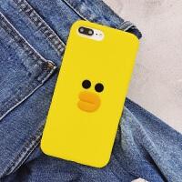 iPhone7plus手机壳x套6s苹果8全包硅胶软6plus可爱卡通大黄鸭子女 6/6S 硅胶平面鸭子