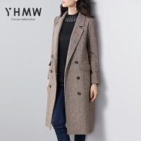 YHMW毛呢外套女中长款2018冬新款韩版羊毛西装呢子大衣