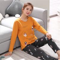 睡衣女秋长袖两件套装薄款可外穿韩版可爱卡通春秋全棉家居服